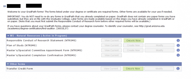 Screenshot of GradPath student navigation