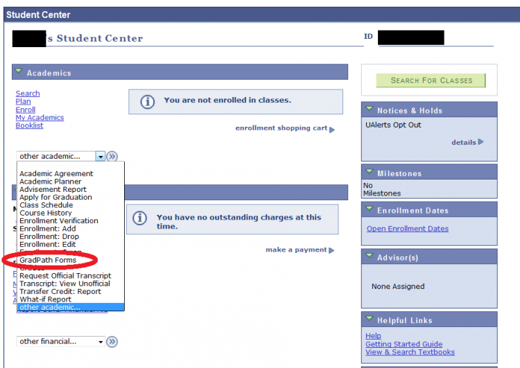 Screenshot of GradPath forms page