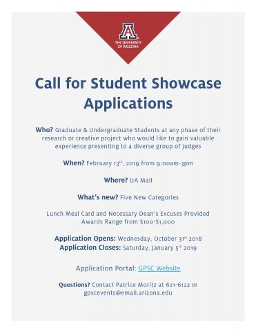 Call for Student Showcase Applications flyer