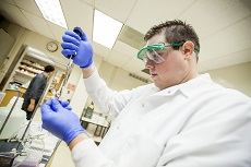 Student working in mosquito lab